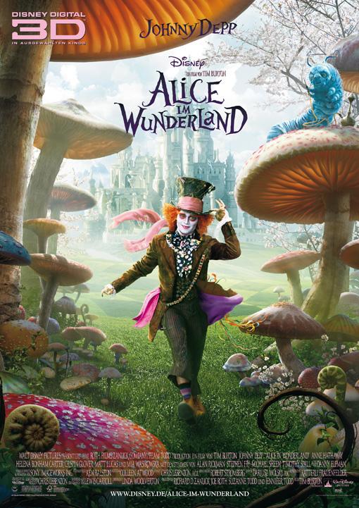 Alice im Wunderland- deutsches Teaserplakat 3D- 3